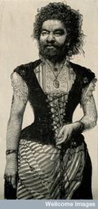 V0007254 Senora Pastrana, a bearded lady. Reproduction of a wood