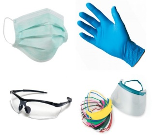Mask, latex gloves, safety specs and other PPE like my fave 'splash shield'