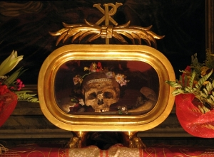 Skull of St Valentine at Santa Maria in Cosmedin