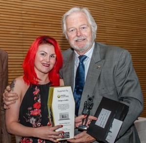 "Ian Lavender from ""Dad's Army"" presented me with the award!"